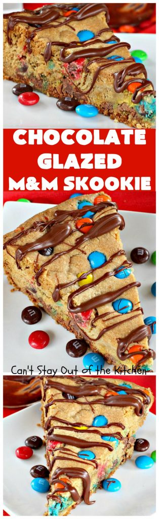 Chocolate Glazed M&M Skookie | Can't Stay Out of the Kitchen