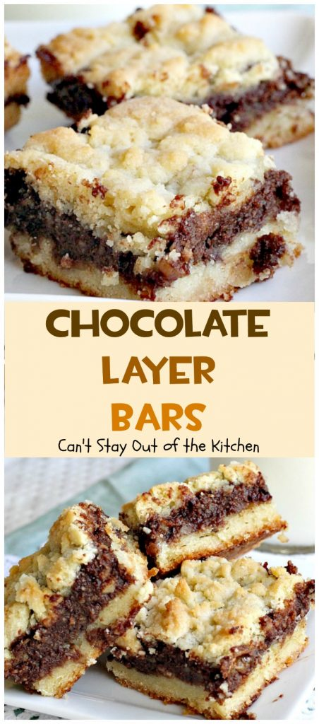 Chocolate Layer Bars | Can't Stay Out of the Kitchen | these #brownies are one of the most spectacular #desserts you'll ever eat. Made with #chocolatechips #creamcheese #almondextract and #walnuts. We love these and make them almost every year at #Christmas!