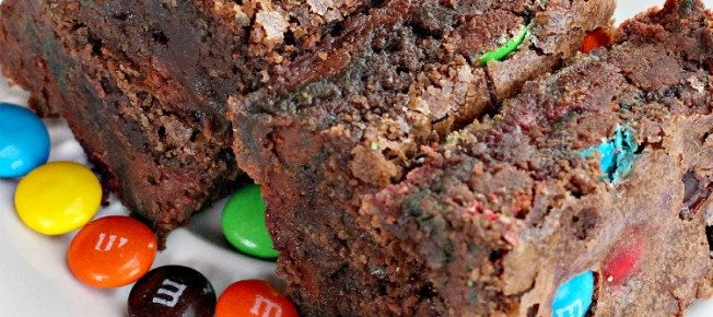 Chocolate M&M Brownies   Can't Stay Out of the Kitchen   sensational #brownies filled with #M&Ms. Quick and easy, too. #dessert #chocolate