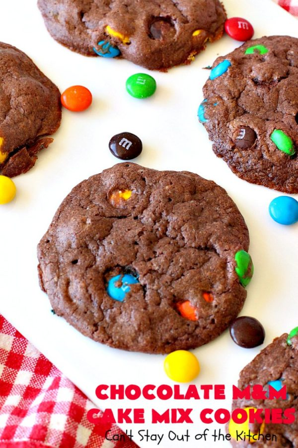 Chocolate M&M Cake Mix Cookies | Can't Stay Out of the Kitchen | Prepare to swoon over these amazing #CakeMix #cookies! They use only 4 ingredients, making them so quick & easy. Wonderful for #holiday or #tailgating parties. #chocolate #ChristmasCookieExchange #MMs #dessert #ChocolateDessert #MMDessert #HolidayDessert #4IngredientRecipe #ChocolateMMCakeMixCookies #CakeMixCookies #EasyHolidayDessert