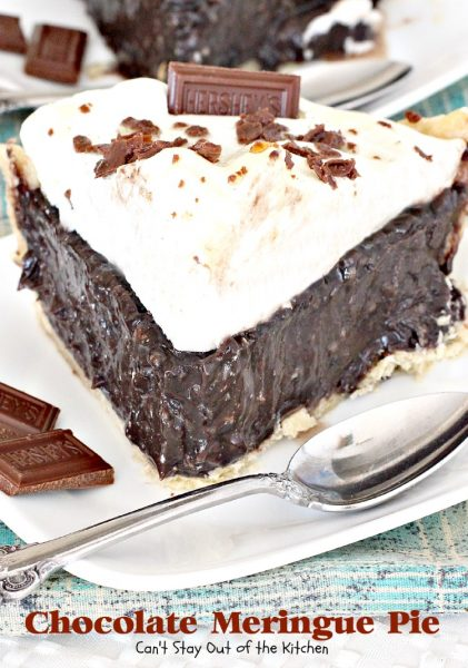 Chocolate Meringue Pie | Can't Stay Out of the Kitchen | this spectacular #pie has a luscious #chocolate filling using dark-roast #cocoa and a sweet #meringue topping. #dessert