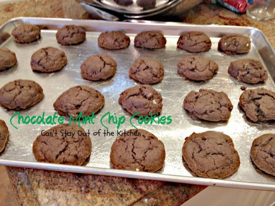 Chocolate Mint Chip Cookies | Can't Stay Out of the Kitchen | These delightful #chocolate #cookies are filled with #mintchocolatechips and glazed with a chocolate #mint icing. Great for #holiday #baking. #dessert