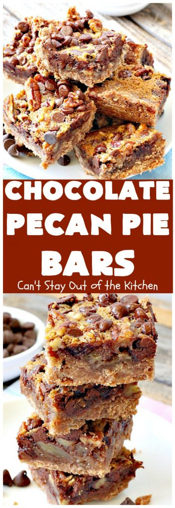 Chocolate Pecan Pie Bars | Can't Stay Out of the Kitchen