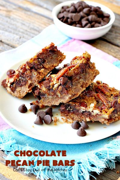Chocolate Pecan Pie Bars | Can't Stay Out of the Kitchen | these favorite #brownies taste like #pecanpie with #chocolate. They are absolutely divine! Perfect for #holiday parties, potlucks and backyard BBQs. #dessert