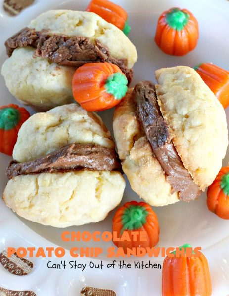 Chocolate Potato Chip Sandwiches | Can't Stay Out of the Kitchen | these #cookies are awesome! They start with a #potatochip cookie & have a luscious #chocolate frosting between them. This dessert is terrific for #fall or #Halloween baking or #christmas cookie exchanges.