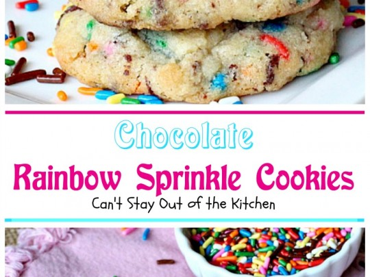 Chocolate Rainbow Sprinkle Cookies | Can't Stay Out of the Kitchen | these sensational #cookies are made with #ghirardelli #chocolate and #rainbowsprinkles. Amazing! #dessert