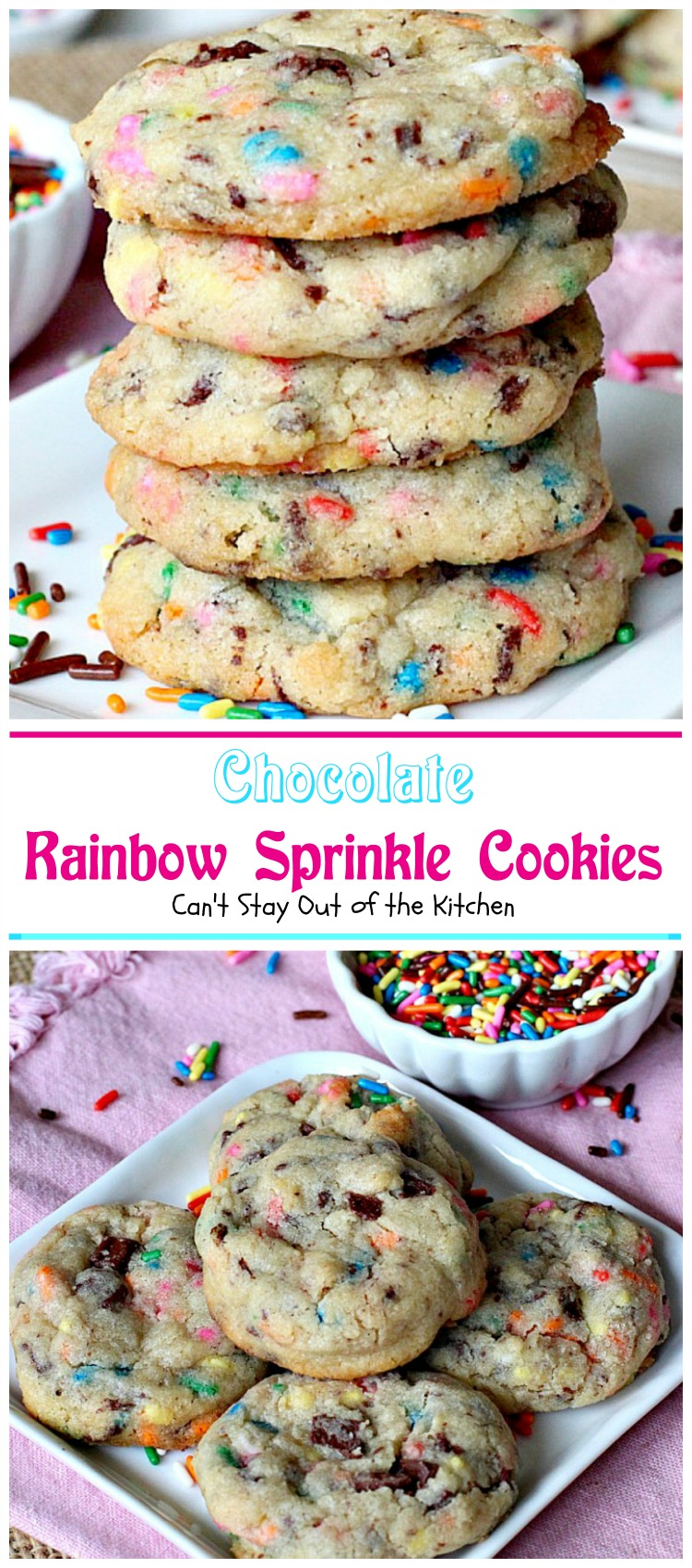 Chocolate Rainbow Sprinkle Cookies - Can't Stay Out of the Kitchen