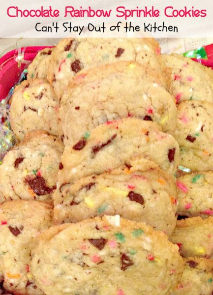 Chocolate Rainbow Sprinkle Cookies | Can't Stay Out of the Kitchen | spectacular #cookies with #ghirardelli #chocolate and #rainbowsprinkles. #dessert
