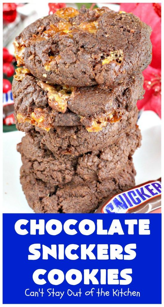 Chocolate Snickers Cookies | Can't Stay Out of the Kitchen | these #chocolate #cookies are fantastic. They're loaded with #SnickersBars so they're filled with #caramel nougat & #peanuts. Terrific for #tailgating or office parties, potlucks or #holiday baking & a #ChristmasCookie Exchange. #dessert #ChocolateDessert #SnickersDessert #HolidayDessert #Snickers #ChocolateSnickersCookies