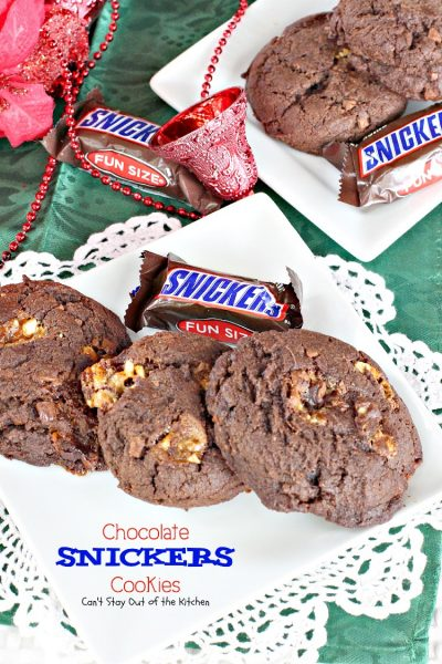 Chocolate Snickers Cookies | Can't Stay Out of the Kitchen | #chocolate plus #Snickers!!! What's not to love? These are wonderful for #holiday #baking. #cookies #dessert