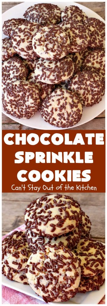 Chocolate Sprinkle Cookies | Can't Stay Out of the Kitchen | these fantastic #SugarCookies are filled with #chocolate #sprinkles. Then they're rolled in more sprinkles before baking. They are soft, rich, melt-in-your-mouth heavenly #cookies! Every bite will have you drooling. #dessert #Holiday #ChocolateDessert #HolidayDessert #HolidayBaking #ChocolateSprinkles #ChristmasCookieExchange #Tailgating #ValentinesDayDessert #TailgatingDessert
