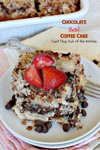 Chocolate Swirl Coffee Cake | Can't Stay Out of the Kitchen | this amazing #coffeecake has a marbled #chocolate layer and topped with a #coconut & pecan streusel topping. Love this for a #holiday #breakfast.
