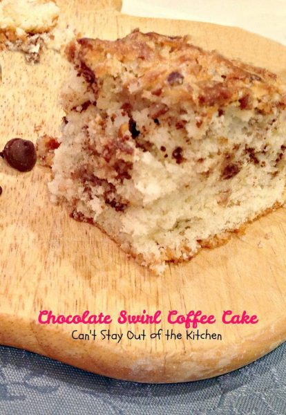 Chocolate Swirl Coffee Cake | Can't Stay Out of the Kitchen | love this delicious #coffeecake with #chocolatechips #coconut and #pecans. #chocolate #breakfast #cake