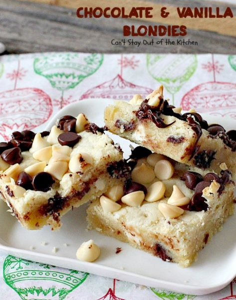 Chocolate and Vanilla Blondies | Can't Stay Out of the Kitchen | delicious #shortbread #cookies are filled with both #chocolate and vanilla chips. Amazing #dessert.