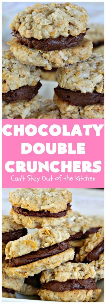Chocolaty Double Crunchers | Can't Stay Out of the Kitchen | this scrumptious #cookie #recipe is to die for! The cookies contain #oatmeal, #CornFlakes & #coconut. The #chocolate frosting is made from #ChocolateChips & #CreamCheese. Absolutely mouthwatering #dessert for #tailgating, potlucks or #ChristmasCookieExchanges. #ChocolateDessert #WhoopiePie #OatmealWhoopiePie#ChocolatyDoubleCrunchers #SandwichCookie #OatmealSandwichCookie