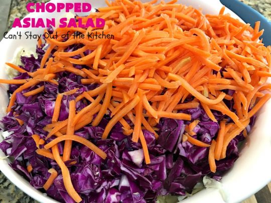 Chopped Asian Salad   Can't Stay Out of the Kitchen   this delightful #salad is fantastic. It's wonderful for company or #holidays. The homemade #SaladDressing is perfect for this #ChoppedSalad. It's also #healthy, #vegan, #LowCalorie, #GlutenFree & #CleanEating. #Asian #carrots #cabbage #AsianChoppedSalad