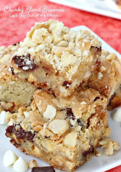 Chunky Blond Brownies | Can't Stay Out of the Kitchen