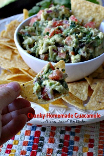 Chunky Homemade Guacamole | Can't Stay Out of the Kitchen | one of the BEST #guacamole recipes you'll ever eat. We love this chunky #appetizer. #Tex-Mex #avocados #tailgating