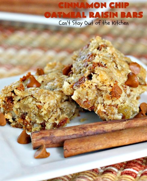 Cinnamon Chip Oatmeal Raisin Bars | Can't Stay Out of the Kitchen | these fantastic #cookies are the ultimate in #OatmealRaisinCookies. They're filled with golden #raisins, #Oatmeal & loads of #CinnamonChips. They're super rich so they'll cure any sweet tooth craving you have. #CinnamonDessert #OatmealRaisinDessert #tailgating #cinnamon #ChristmasCookieExchange #brownie #CinnamonChipOatmealRaisinBars