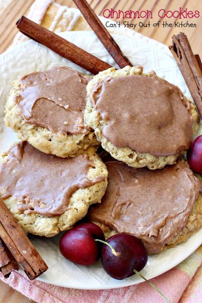 Cinnamon Cookies | Can't Stay Out of the Kitchen | these sensational #oatmeal #cookies have a delicious #cinnamon frosting to die for. We love this recipe. #dessert
