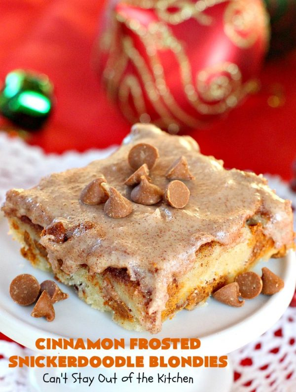 Cinnamon Frosted Snickerdoodle Blondies | Can't Stay Out of the Kitchen | these #cookies will knock your socks off! They are rich, decadent & absolutely heavenly. They'll sure satisfy any sweet tooth craving you have. Perfect for #holiday or #Christmas parties too. #snickerdoodles #cinnamon #dessert #SnickerdoodleDessert #HolidayDessert #CinnamonFrostedSnickerdoodleBlondies