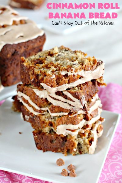 Cinnamon Roll Banana Bread | Can't Stay Out of the Kitchen | get the great taste of homemade #CinnamonRolls but without all the work in this fantastic #BananaBread #recipe. It has triple the #cinnamon flavor with cinnamon & #CinnamonChips in the batter & cinnamon in the icing. Delicious sweet #bread for company or #holidays like #Christmas or #Thanksgiving. #CinnamonRollBananaBread