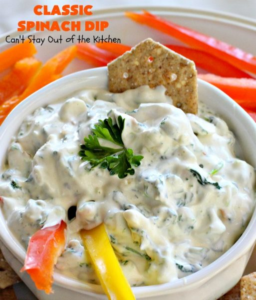 Classic Spinach Dip | Can't Stay Out of the Kitchen | This wonderful #appetizer is the classic #KnorrsSoup #recipe. It's absolutely scrumptious for any kind of party or potluck. #Tailgating #spinach #SuperBowl #WaterChestnuts #SpinachDip