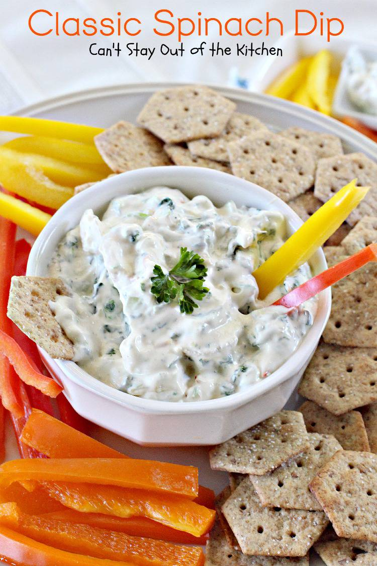 Classic Spinach Dip | Can't Stay Out of the Kitchen | Spectacular #spinachdip with #waterchestnuts, and #Knorrs #vegetablesoupmix. Great for #tailgating parties. #glutenfree #appetizer