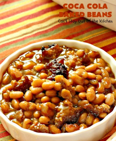 Coca Cola Baked Beans   Can't Stay Out of the Kitchen   this healthier version of #bakedbeans uses #VirgilsCola and #turkey sausage. It's terrific for summer #holiday parties & potlucks.