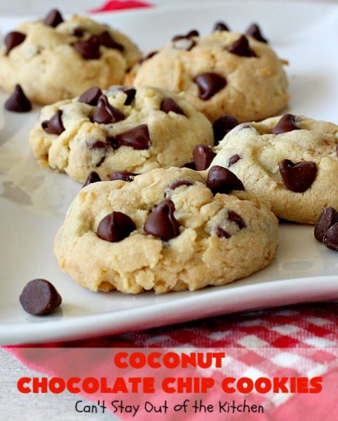 Coconut Chocolate Chip Cookies | Can't Stay Out of the Kitchen | these fabulous #chocolatechipcookies are filled with #chocolate chips & #coconut. They're are absolutely heavenly. Perfect #dessert for #tailgating parties, potlucks or #holiday baking.