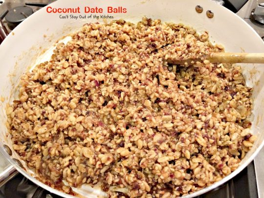 Coconut Date Balls | Can't Stay Out of the Kitchen | we make these #cookies every year for #Christmas. Everyone loves them. #dessert #dates #RiceKrispies