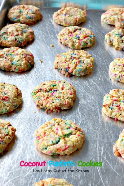 Coconut Funfetti Cookies | Can't Stay Out of the Kitchen | these marvelous #cookies are filled with #rainbowsprinkles and #coconut and so easy to make since they start with a #cakemix. #dessert