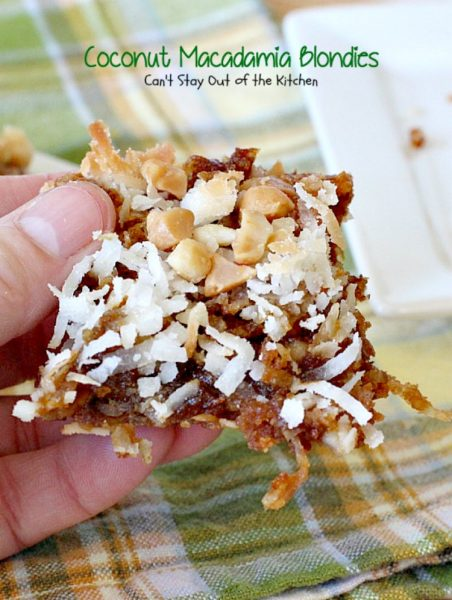 Coconut Macadamia Blondies | Can't Stay Out of the Kitchen | these fabulous #brownies are filled with #coconut and #macadamianuts. Great for #holiday baking. #cookie #glutenfree #dessert