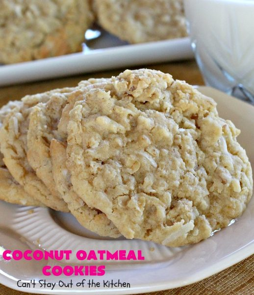 Coconut Oatmeal Cookies | Can't Stay Out of the Kitchen | these were my favorite #cookies growing up. #OatmealCookies with #coconut are so delicious! Every bite will have you drooling. Great for #tailgating parties, potlucks or #ChristmasCookieExchanges. #dessert #CoconutOatmealCookies #Fall #FallBaking