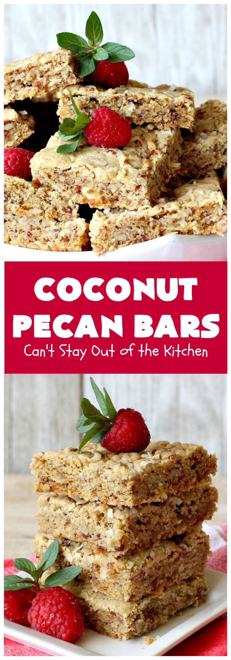 Coconut Pecan Bars | Can't Stay Out of the Kitchen | these delicious bar-type #cookies are filled with #coconut & #pecans. Every bite is chewy, gooey, crunchy & out of this world! #tailgating #holiday #HolidayDessert #CoconutDessert #PecanDessert #CoconutPecanBars