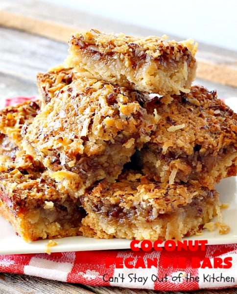 Coconut Pecan Pie Bars | Can't Stay Out of the Kitchen | these fantastic #brownies are rich, decadent and so mouthwatering you won't want to put them down! Like eating #pecanpie but with #coconut added. #dessert #cookies #pecans