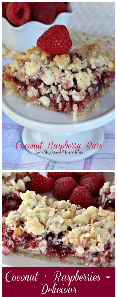 Coconut Raspberry Bars | Can't Stay Out of the Kitchen