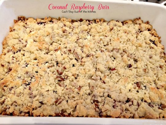 Coconut Raspberry Bars | Can't Stay Out of the Kitchen | these ooey, gooey #dessert bars are great for #holiday baking or any time you want a delectable #cookie or #brownie. #raspberries #coconut