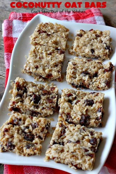 Coconutty Oat Bars | Can't Stay Out of the Kitchen | these heavenly bar-type #cookies are filled with #dates, #coconut, #oatmeal & #pecans. They're deliciously chewy & wonderful for #holiday or #tailgating parties. #dessert #CoconutDessert #HolidayDessert #ChristmasCookieExchange