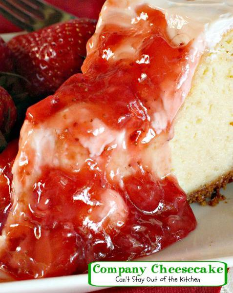 Company Cheesecake | Can't Stay Out of the Kitchen | this amazing #cheesecake has a sour cream topping and a #strawberry #glaze. #dessert
