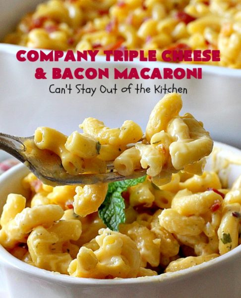 Company Triple Cheese and Bacon Macaroni | Can't Stay Out of the Kitchen | this fantastic #macandcheese #recipe is perfect for company dinners since it's kid-friendly and makes two huge #casseroles. It's loaded with #bacon and three different kinds of #cheese. Terrific #fall comfort food. #cheddarcheese #Velveeta #pasta #macaroniandcheese