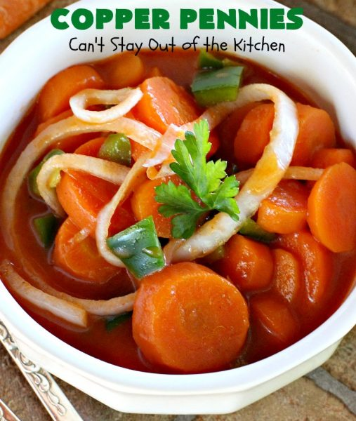 Copper Pennies | Can't Stay Out of the Kitchen | Marinated #Carrots never tasted as well as they do in this wonderful #recipe. It's a quick & easy #SideDish that's terrific for company, #holidays, potlucks or grilling out with friends. #Easter #EasterSideDish #MothersDay #MothersDaySideDish #Holiday #potluck #HolidaySideDish #CopperPennies #MarinatedCarrots