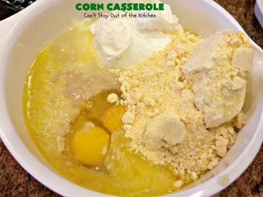 Corn Casserole | Can't Stay Out of the Kitchen | this is one of our favorite #corn #casserole #recipes. This one uses #cheddar #cheese & #JiffyCornMuffinMix. Terrific for #Christmas or #Thanksgiving dinners. #creamedcorn #corncasserole
