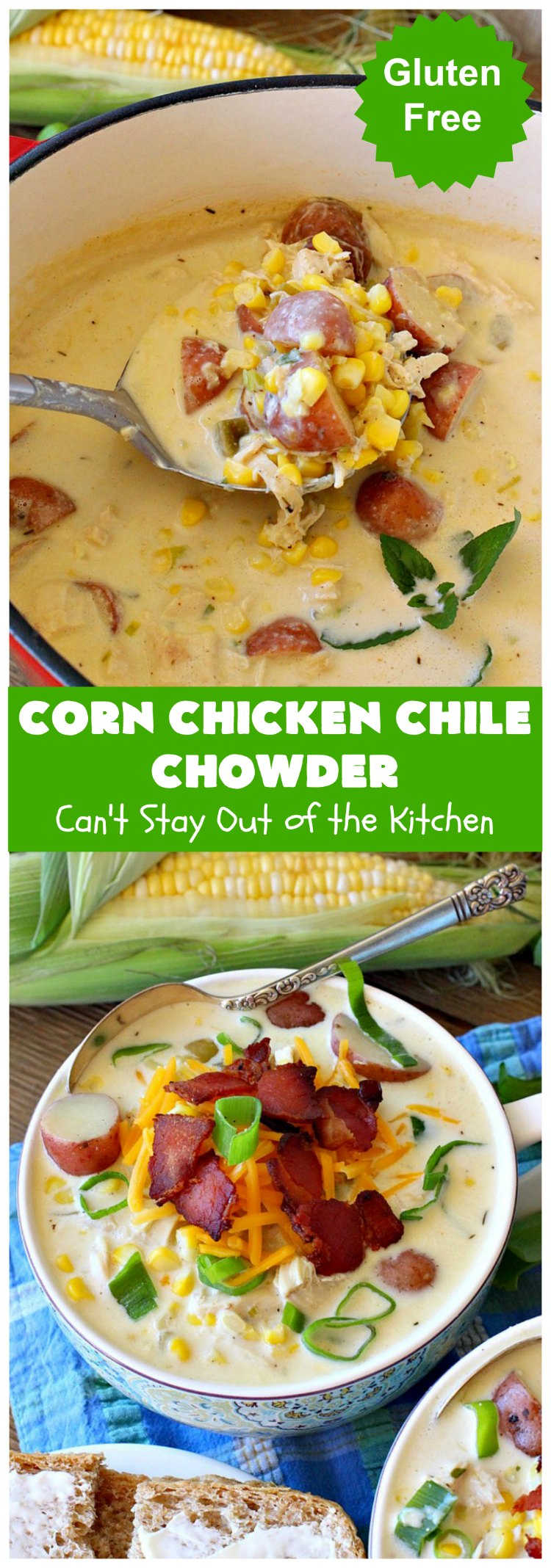 Corn Chicken Chile Chowder | Can't Stay Out of the Kitchen | this fantastic #TexMex #soup is hearty, satisfying & so filling. It's filled with Southwestern flavors that give it zest, but it's not overpowering. #corn #chicken #chowder #GreenChilies #CornChowder #GlutenFree #CornChickenChileChowder