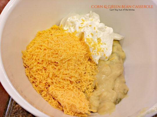 Corn and Green Bean Casserole | Can't Stay Out of the Kitchen | this wonderful #casserole has a creamy, cheesy filling and a crunchy #Ritzcrackers and #almond topping. We get rave reviews every time we serve this. #greenbeans #corn