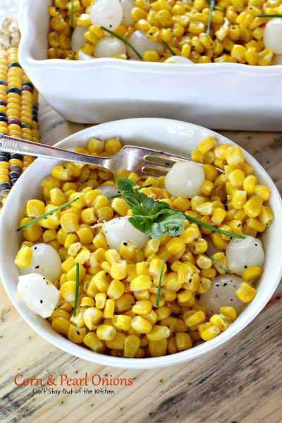 Corn & Pearl Onions | Can't Stay Out of the Kitchen | this tasty #sidedish is so quick and easy you'll find it on the menu often! #corn #pearlonions #glutenfree