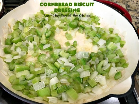 Cornbread Biscuit Dressing | Can't Stay Out of the Kitchen | This fantastic #stuffing #recipe for #turkey is made with #biscuits & #Jiffy #cornbread. Terrific side dish for #Thanksgiving or #Christmas. #TurkeyDressing #TurkeyStuffing #CornbreadBiscuitDressing #GooseberryPatch