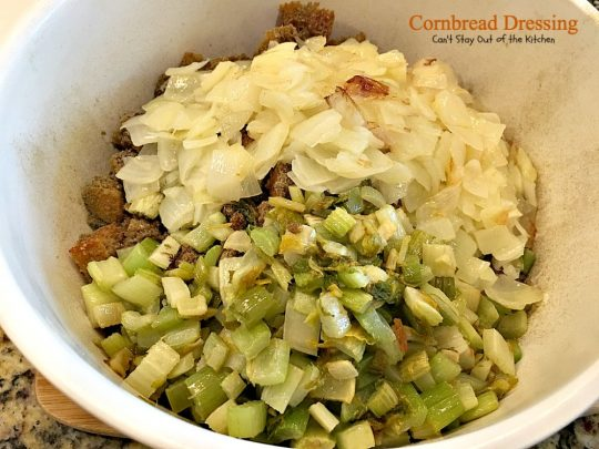 Cornbread Dressing | Can't Stay Out of the Kitchen | My Mom's fantastic #cornbread #stuffing recipe. Great for the #holidays. #glutenfree