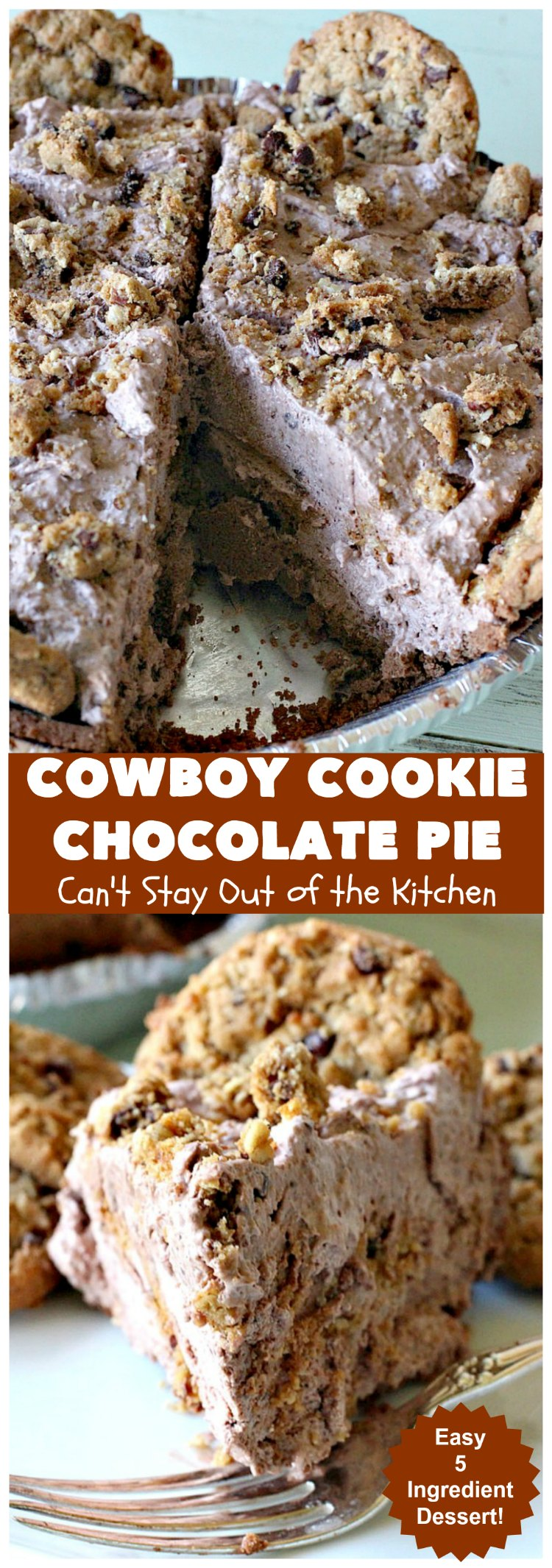 Cowboy Cookie Chocolate Pie | Can't Stay Out of the Kitchen | this luscious & creamy #chocolate #pie is made with #CowboyCookies! Each #cookie contains #pecans #ChocolateChips & #oatmeal. Great #dessert pie for company or #holidays. #CowboyCookieChocolatePie #ChocolateDessert