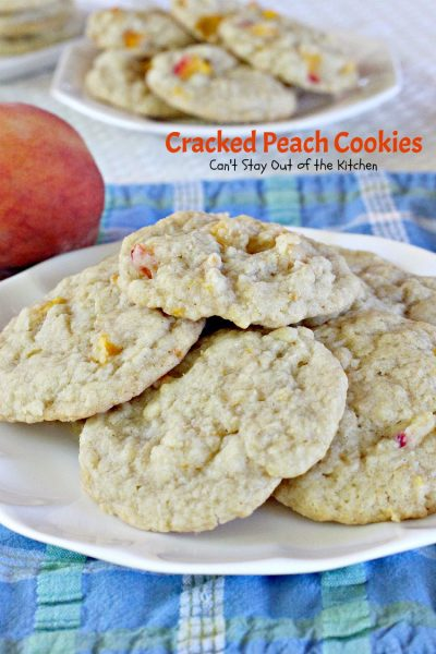 Cracked Peach Cookies | Can't Stay Out of the Kitchen | these amazing #cookies are so incredibly good you'll find yourself making them over and over! #dessert #peaches
